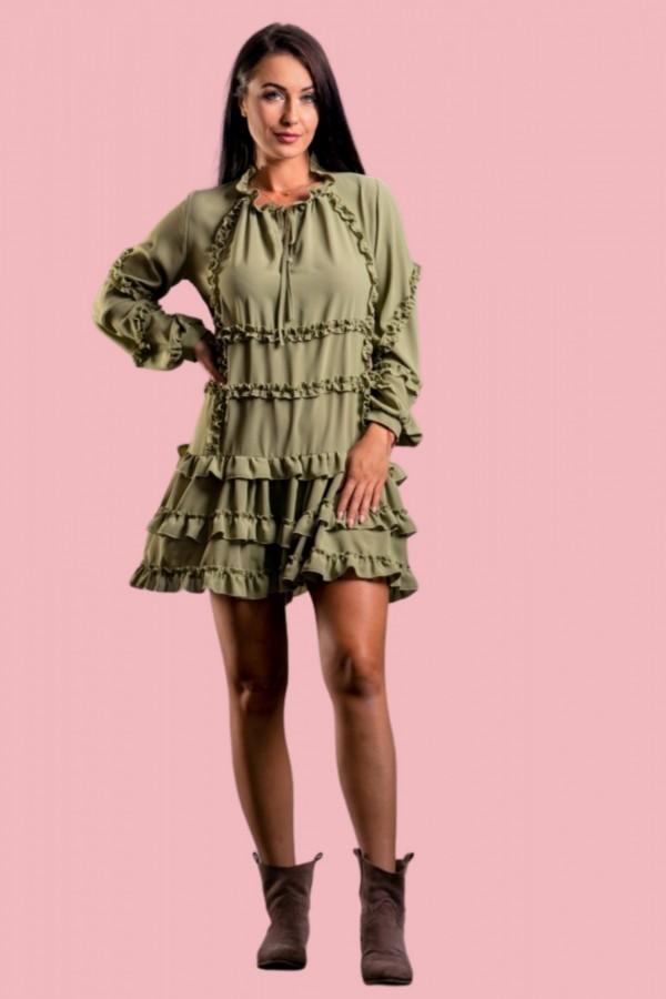 sukienka z falbanką zielona