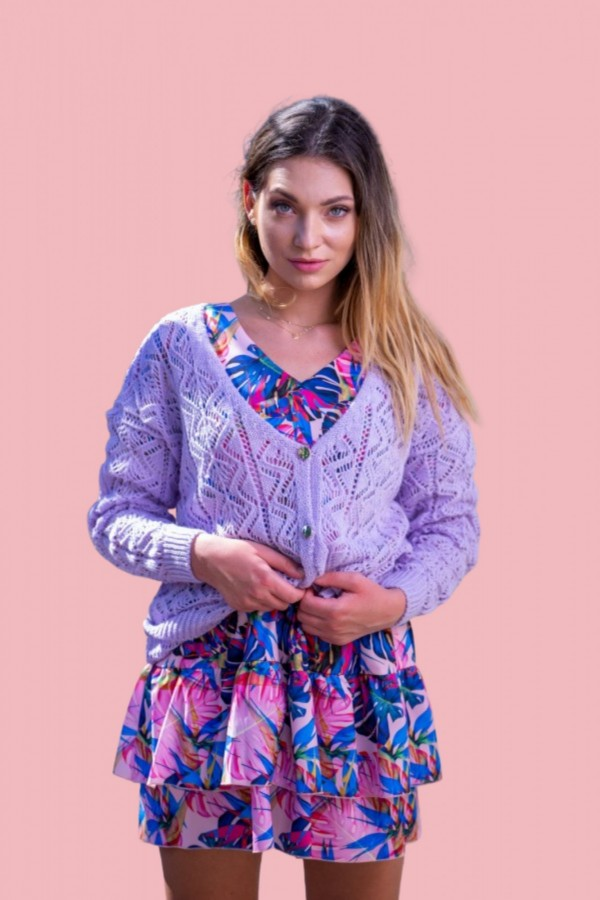 sweter rozpinany fioletowy