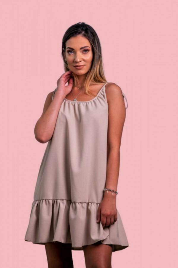 Sukienka na ramiączkach beżowa