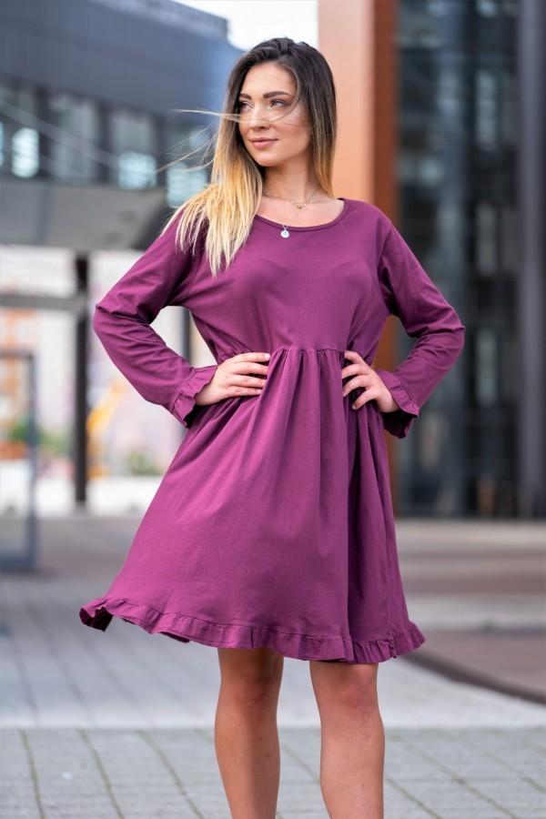 sukienka długi rękaw fiolet 3