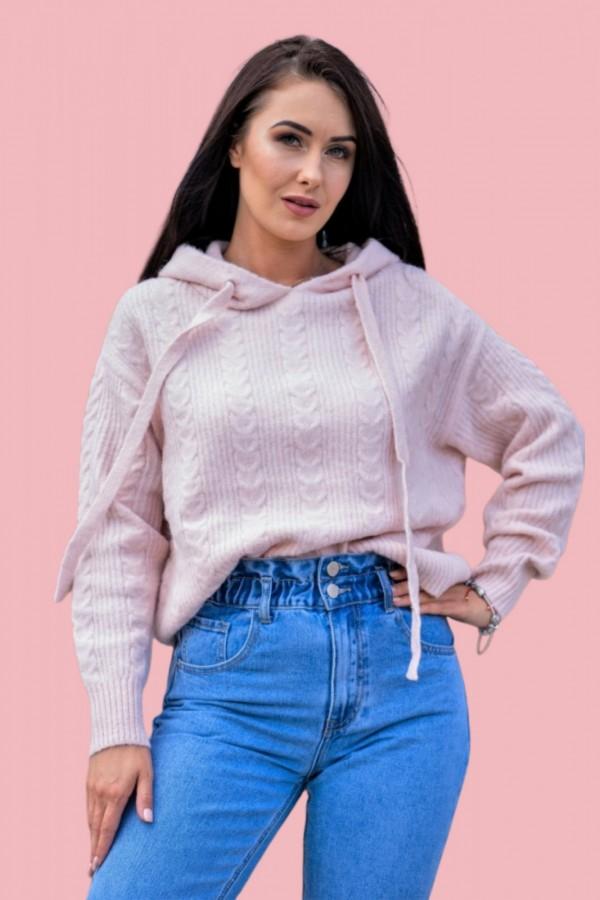 Sweter z kapturem różowy