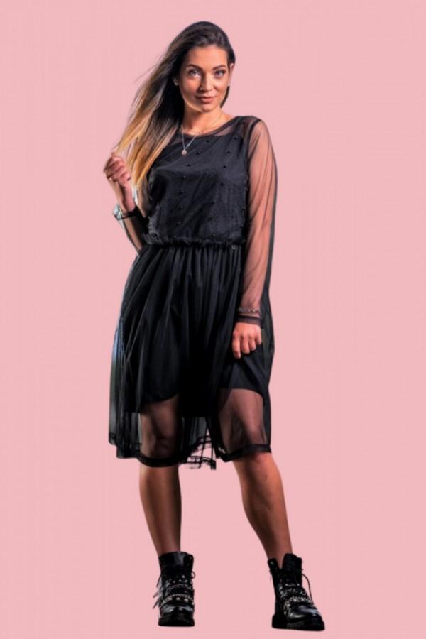 Sukienka czarna tiulowa z kamyczkami