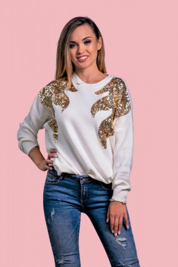 Sweter oversize złote cekiny skrzydła