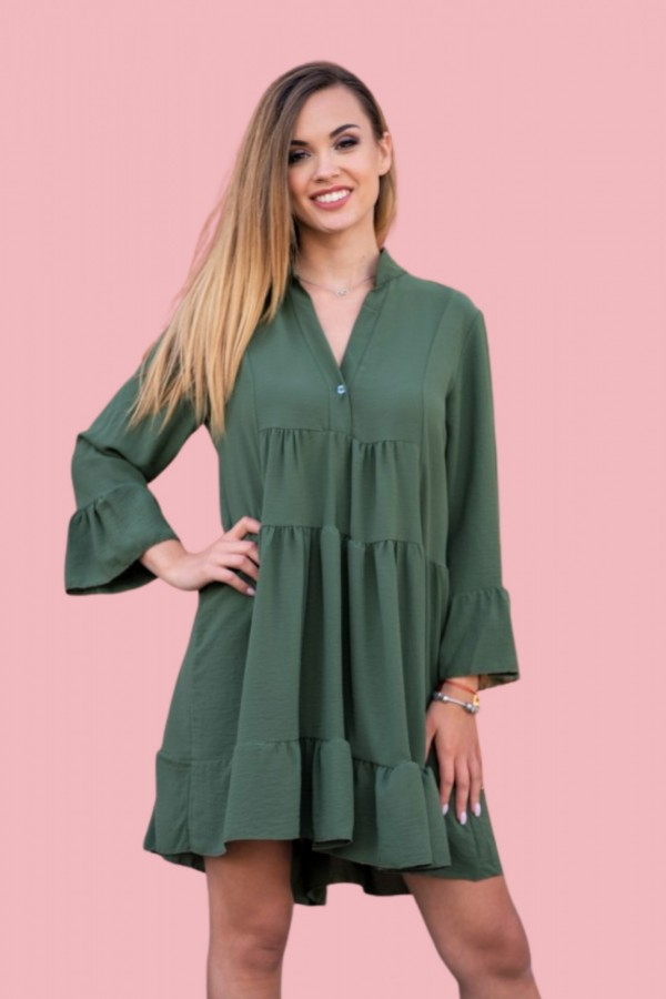 Sukienka z falbanką butelkowa zieleń