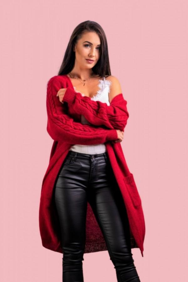 Kardigan długi ciepły warkocz czerwony