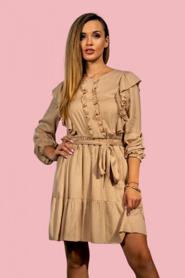 sukienka beżowa żabot