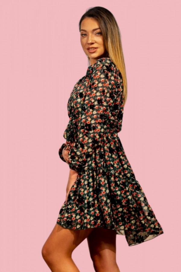 Sukienka szyfonowa kwiaty