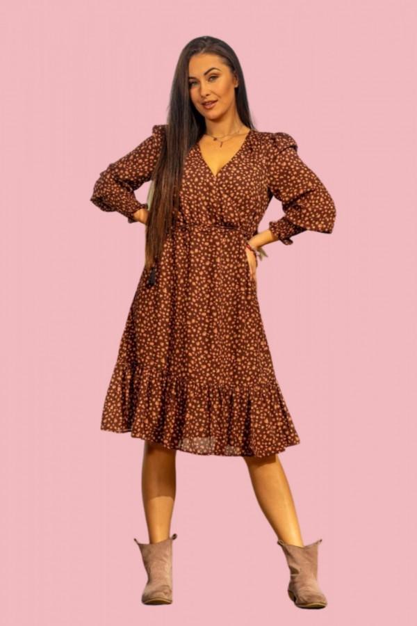 sukienka midi brązowa kropki
