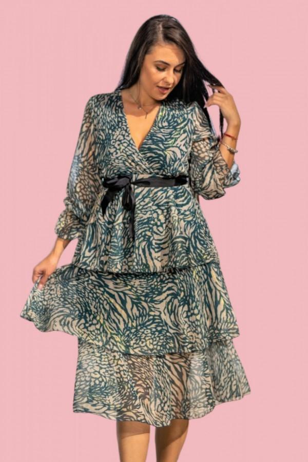sukienka midi falbanki dekolt niebieska