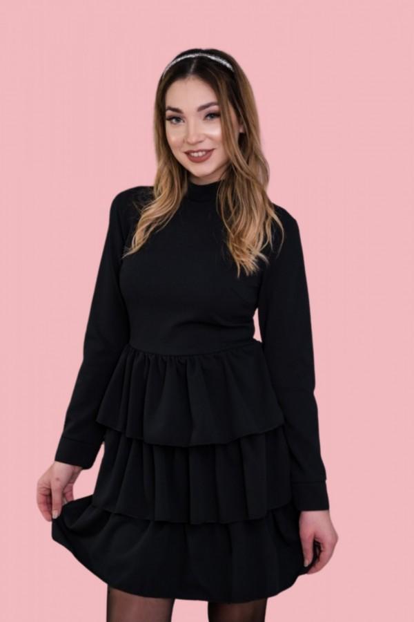 sukienka falbanki półgolf czarna
