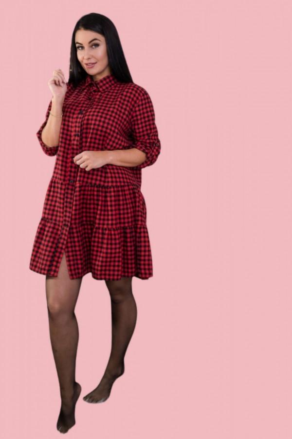 sukienka krata czerwona