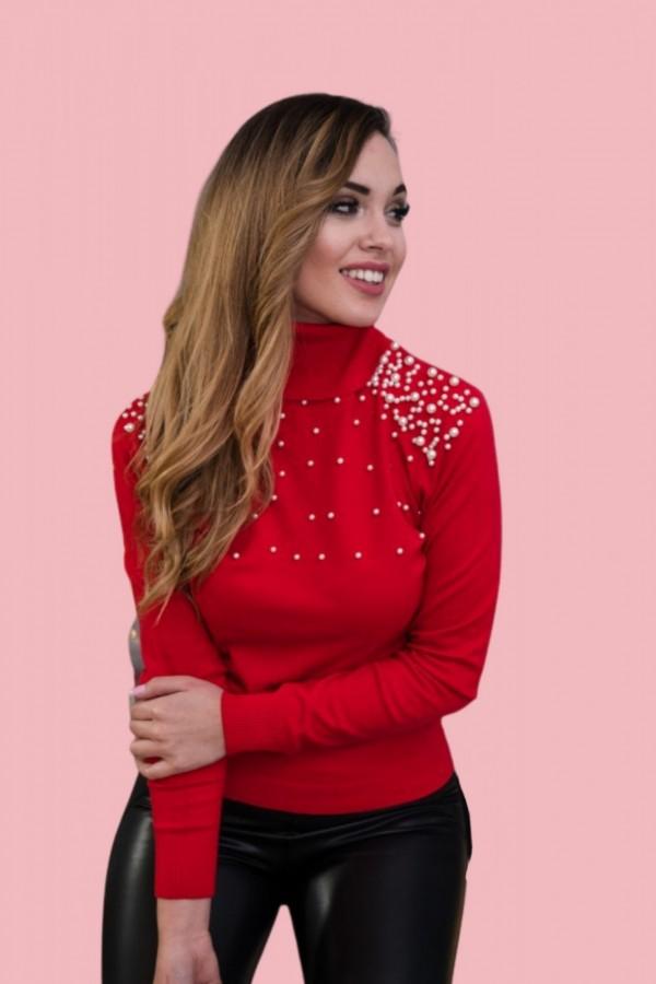 sweter golf z perełkami czerwony