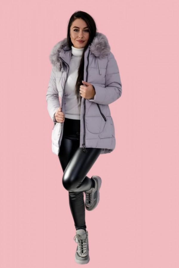 Płaszcz kurtka pikowana szara futerko