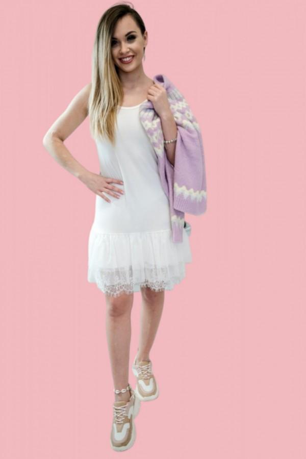 Sukienka halka z tiulem ecru