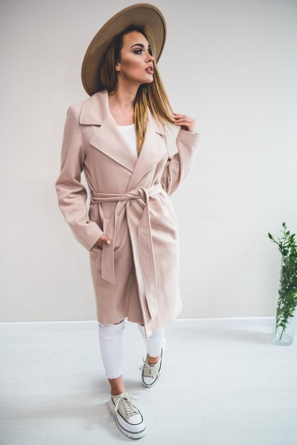 Płaszcz wiązany nude 4