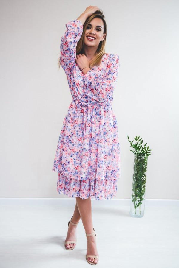 sukienka kwiaty róż niebieska 3