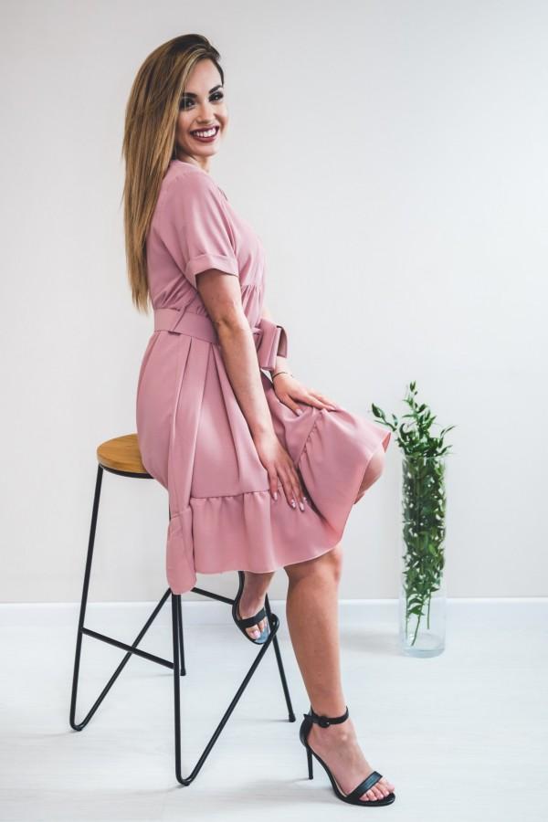 Sukienka pudrowy róż z torebką w talii 7