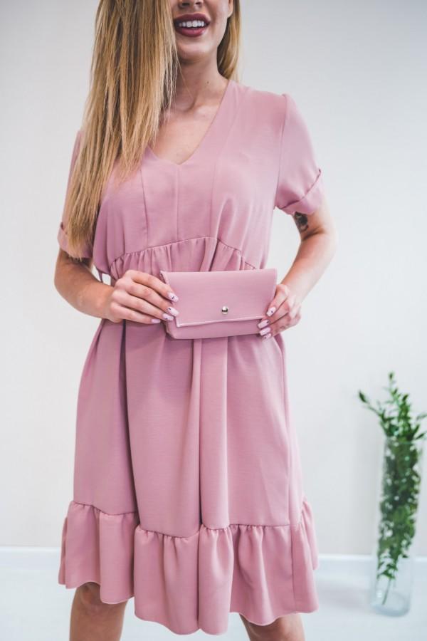 Sukienka pudrowy róż z torebką w talii