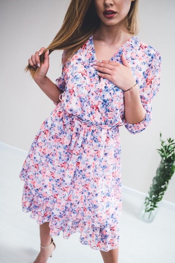 sukienka kwiaty róż niebieska