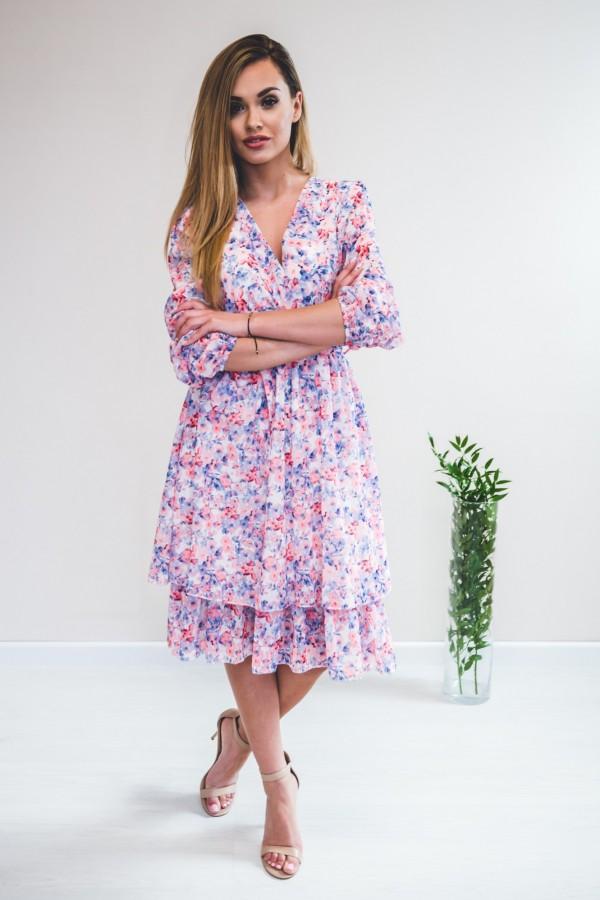 sukienka kwiaty róż niebieska 9
