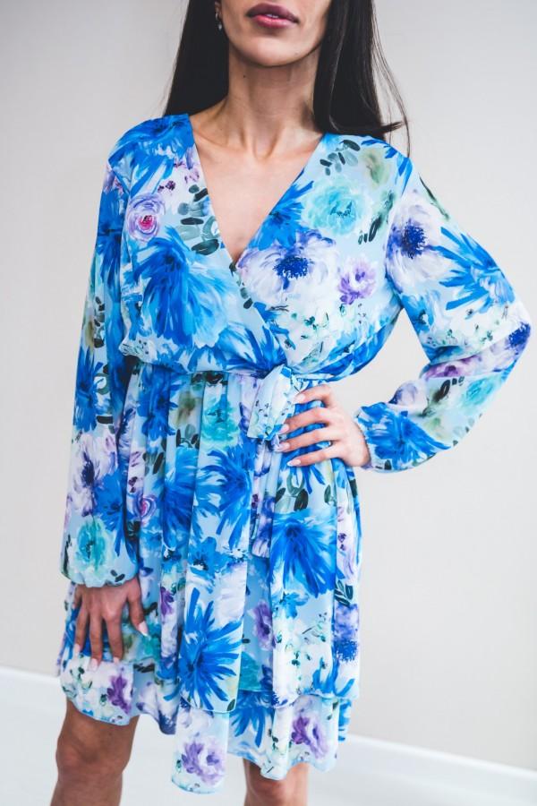 Sukienka kwiaty niebieska akwarela