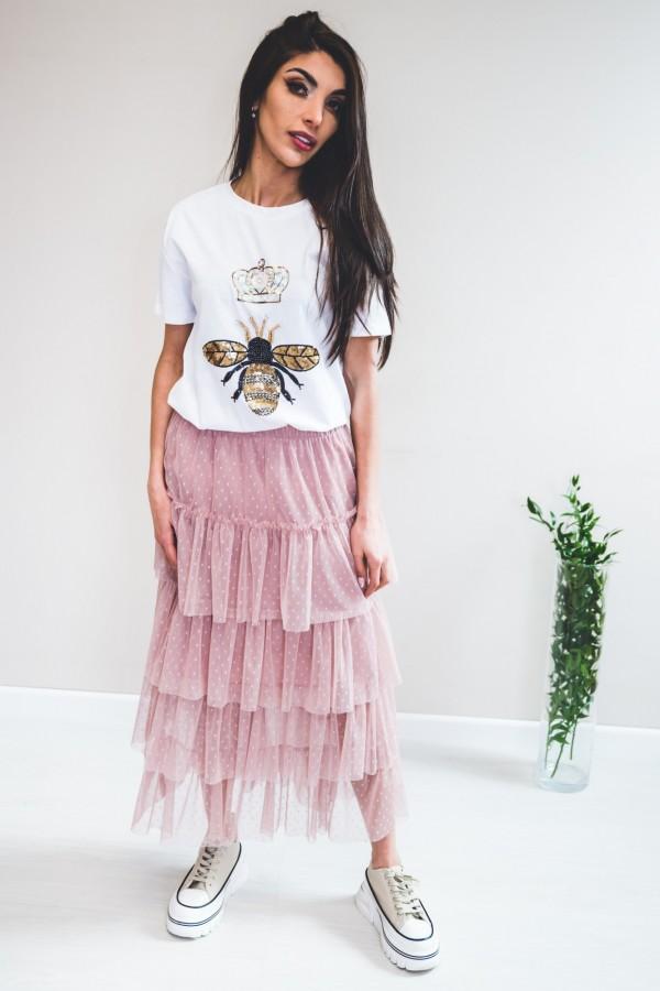 spódnica tiul falbanki róż 4