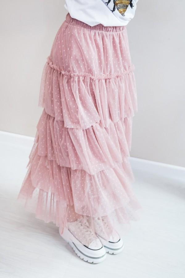 spódnica tiul falbanki róż 7