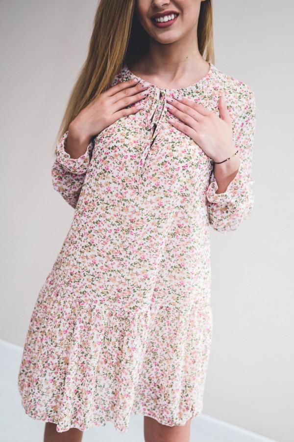 sukienka kremowa drobne kwiatki róż