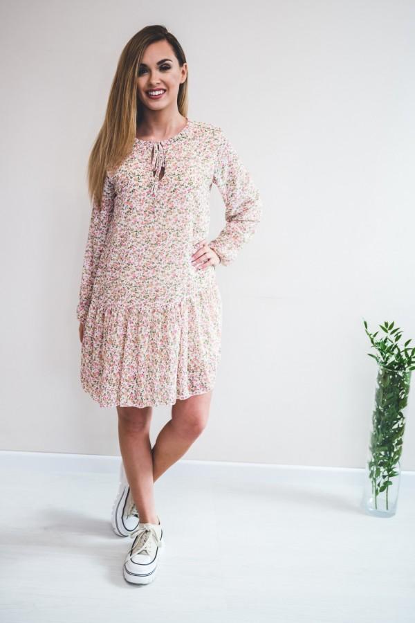 sukienka kremowa drobne kwiatki róż 1
