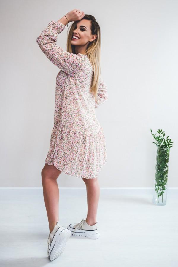 sukienka kremowa drobne kwiatki róż 3