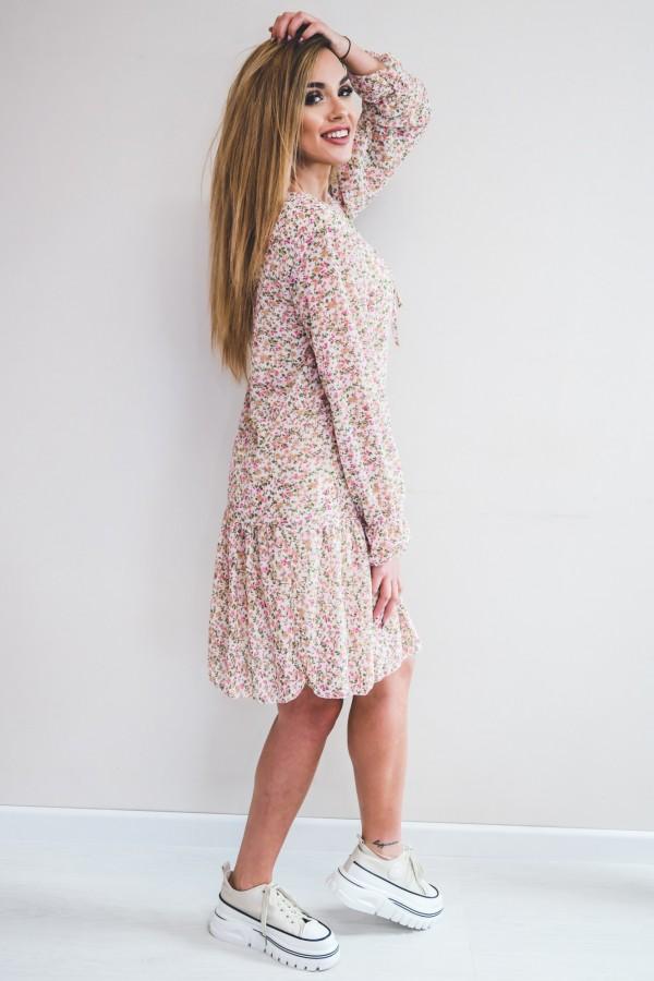 sukienka kremowa drobne kwiatki róż 7