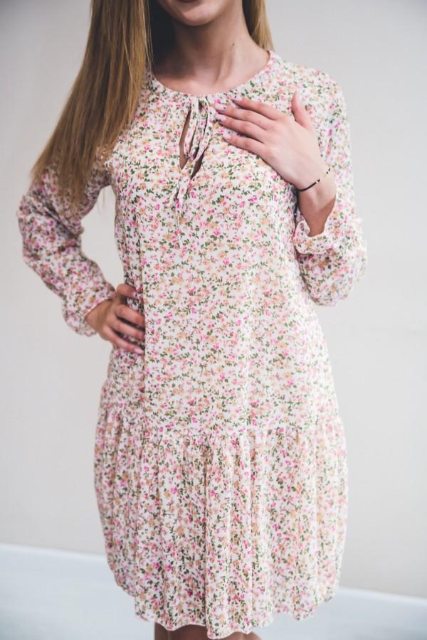 sukienka kremowa drobne kwiatki róż 9