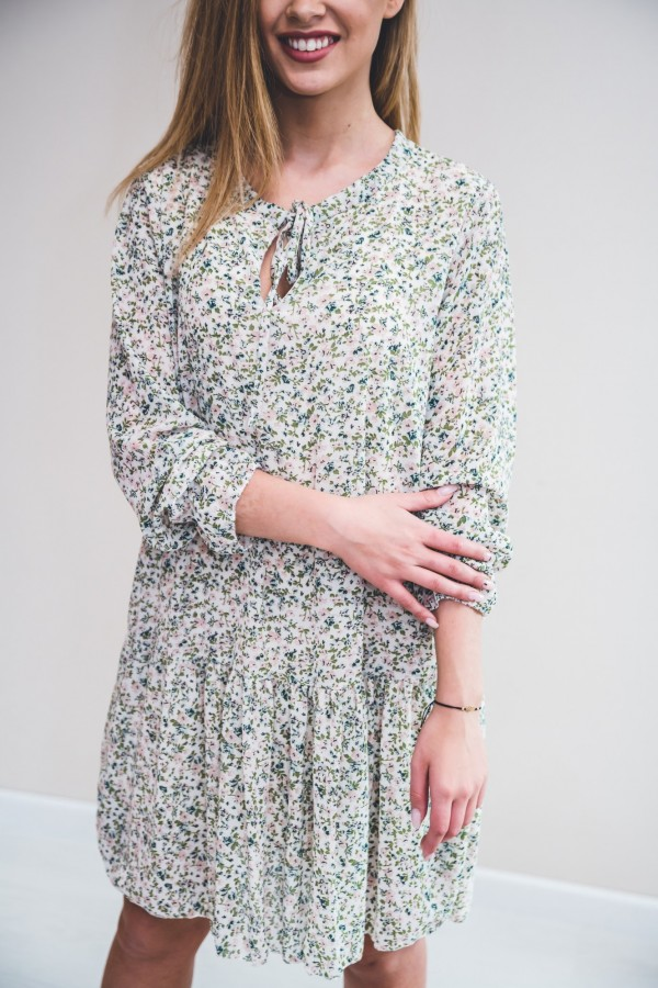 sukienka drobne kwiatki zielona
