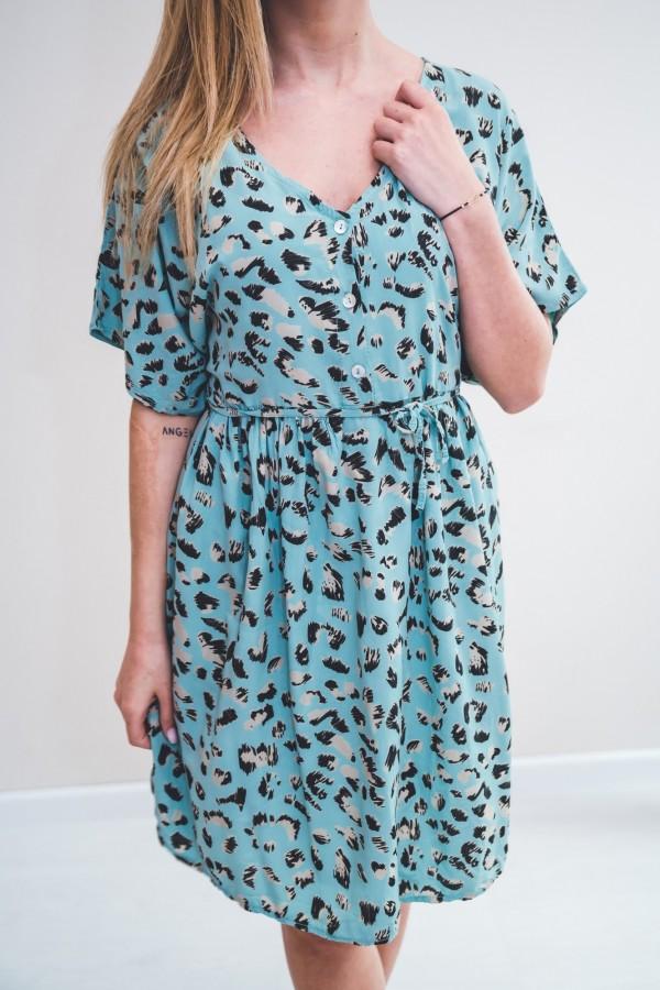 sukienka panterka seledynowa