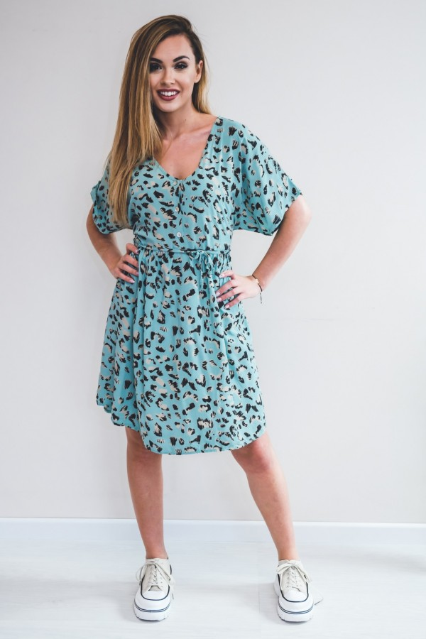 sukienka panterka seledynowa 2