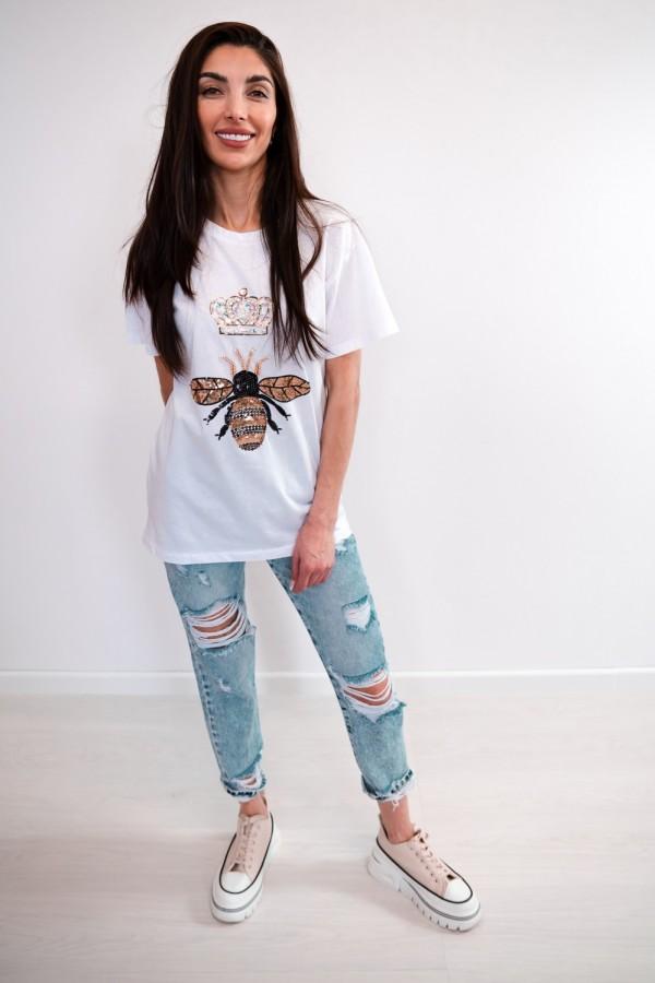 T-shirt biały cekiny osa korona 1