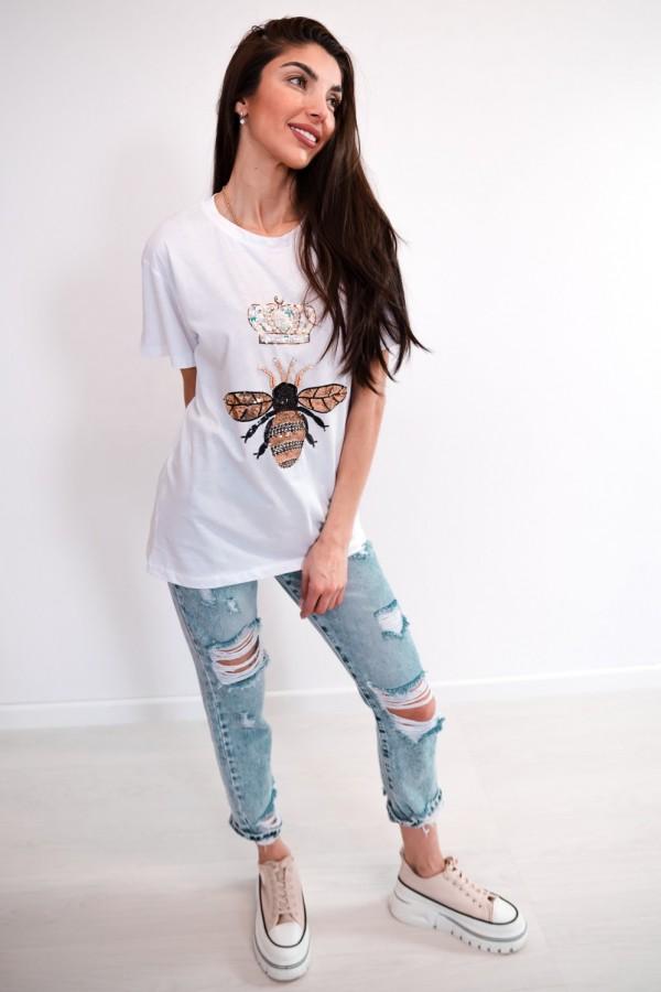 T-shirt biały cekiny osa korona 2