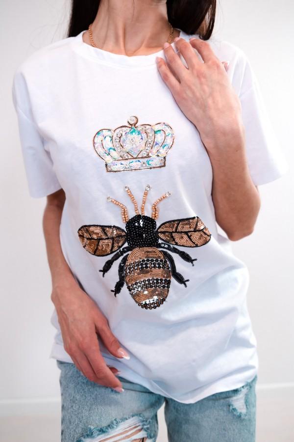 T-shirt biały cekiny osa korona 4