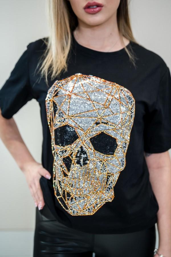 Tshirt z czaszką czarny