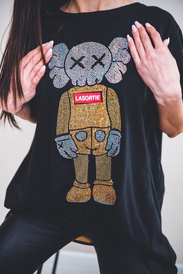 T-shirt czarny dżety