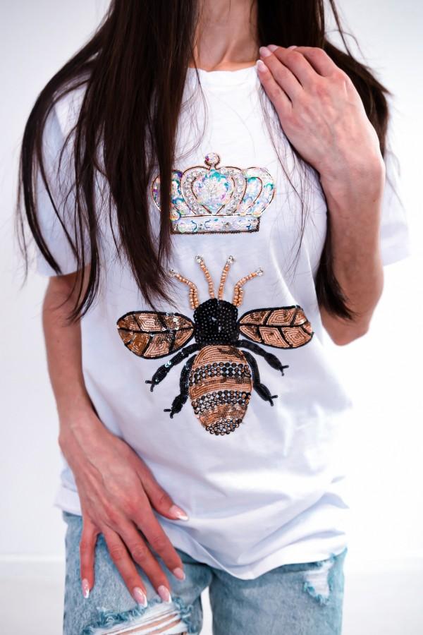 T-shirt biały cekiny osa korona