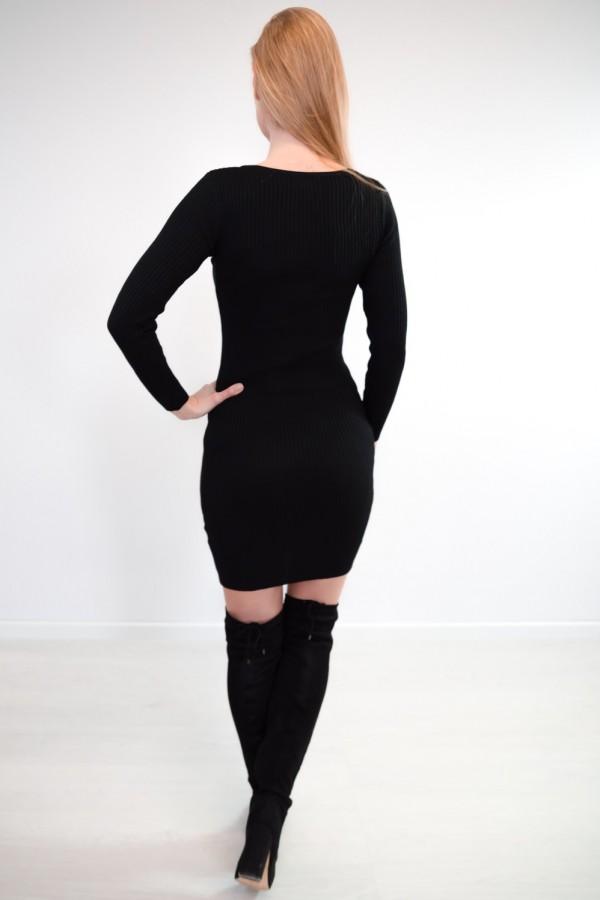 sukienka dopasowana guziczki czarna 4