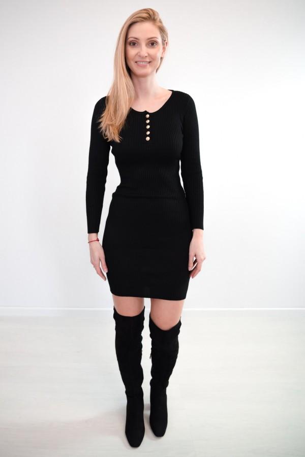 sukienka dopasowana guziczki czarna 5