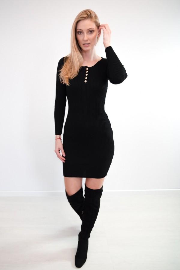 sukienka dopasowana guziczki czarna 6