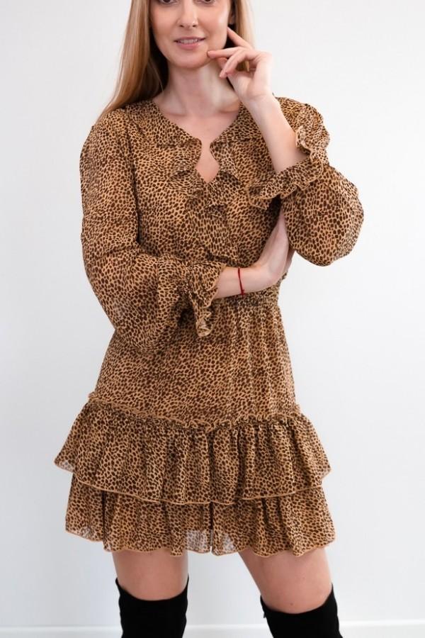 sukienka falbanka panterka