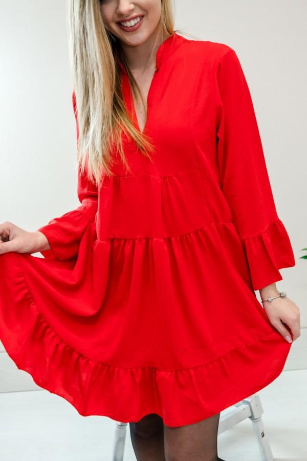 Sukienka z falbanką czerwona