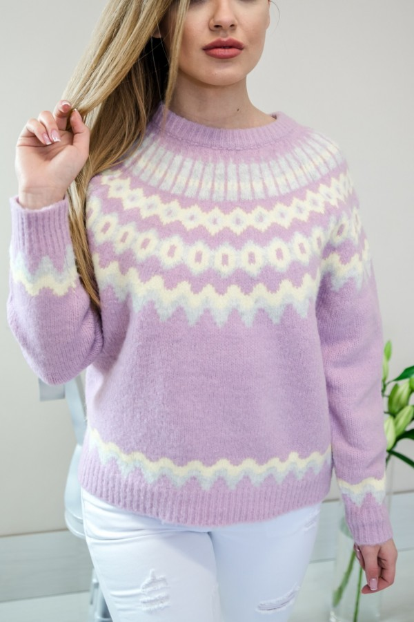 sweter pastelowy fiolet