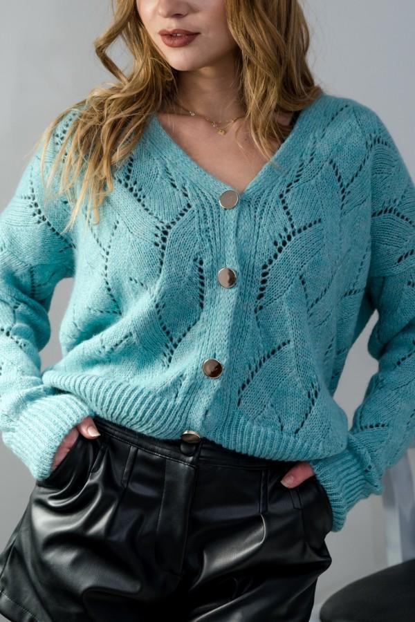 sweter rozpinany morski