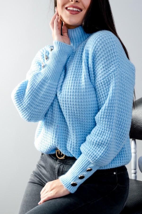 sweter niebieski półgolf guziczki