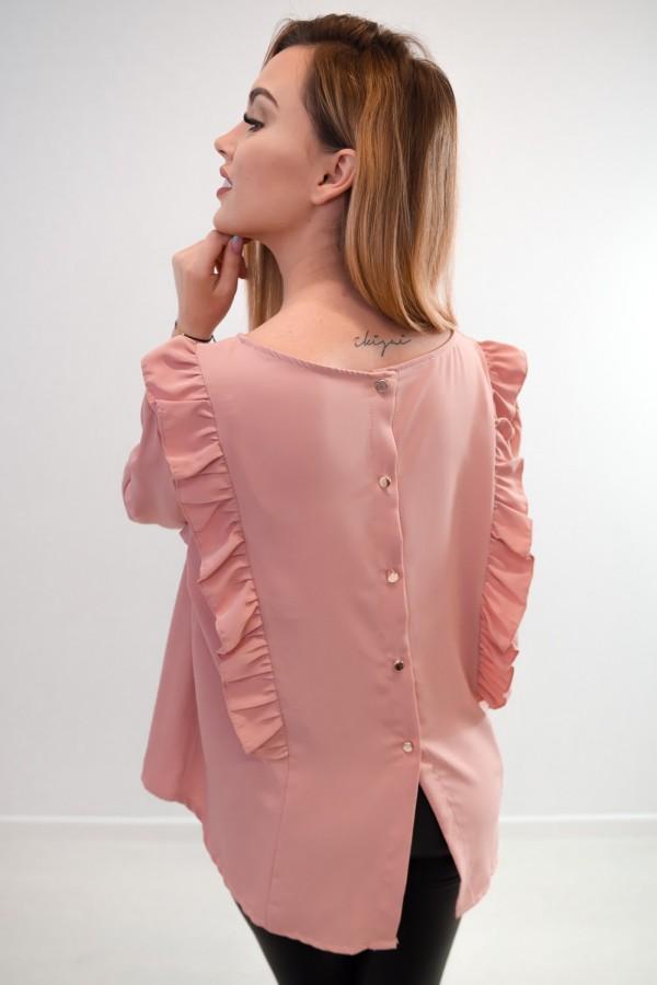 Bluzka guziczki na plecach różowa 1